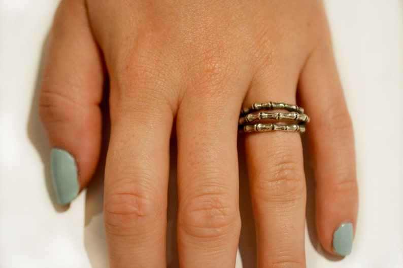 Triple Bamboo Ring in Sterling Silver image 0