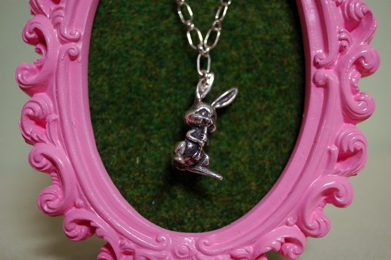 Lil' Bunny Necklace for your Sweet Hunny Bunny in Sterling image 0