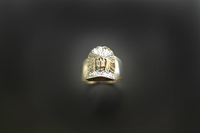 Southwestern Indian Chief Sterling Silver Ring Smaller Design image 0