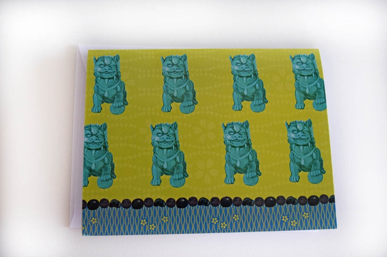 Foo Dog Note Cards  Chinoiserie image 0