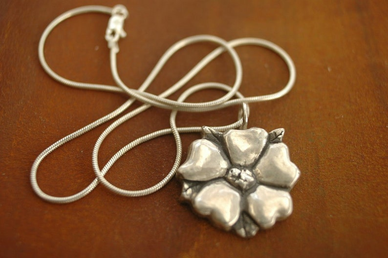 Silver Flower Blossom on Silver Snake Chain image 0