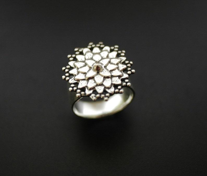 Asian Mum Ring Sterling Silver Flower Ring image 0