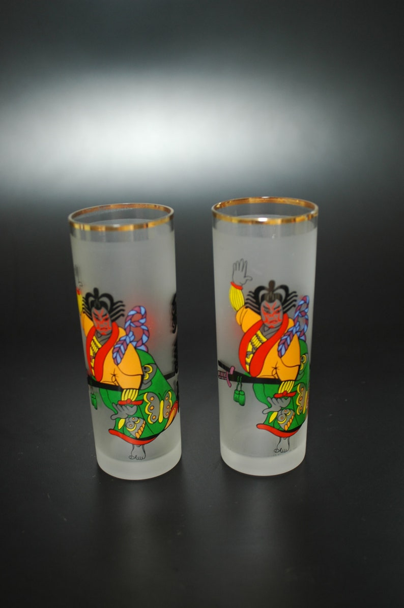 1970 Japanese World Expo Samurai Memorabilia Glass Set of 2 image 0