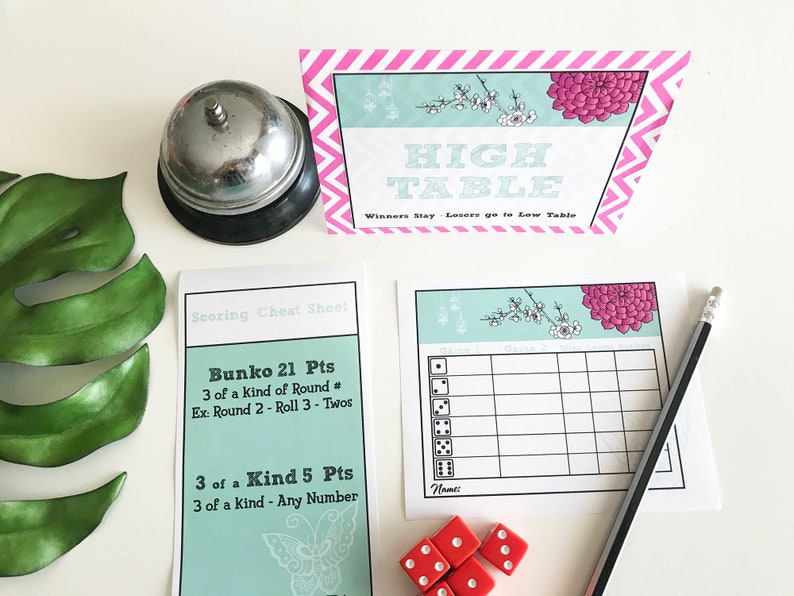 Bunko Table Tents Score Card & Cheat Sheet image 0