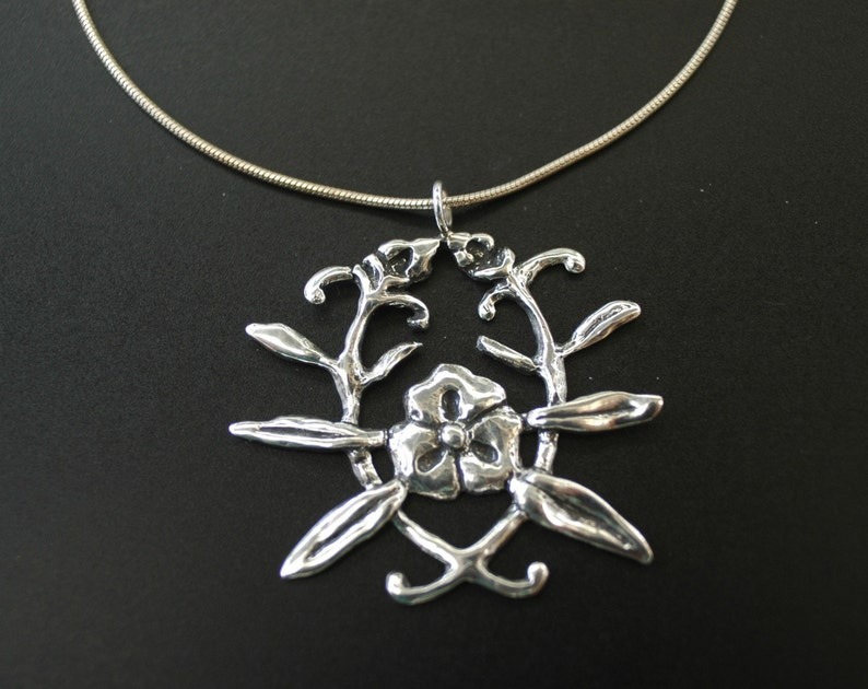 Flower Emblem Necklace in Sterling Silver image 0