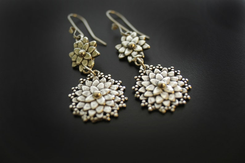 Mum Dahlia Earrings in Sterling Silver image 0