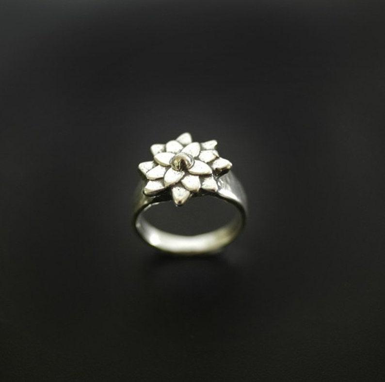 Flower Ring Asian Mum Sterling Botanical Ring image 0