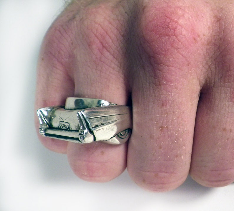 1957 Chevy Belair Fin Ring in Sterling Silver  Car Ring  Hot image 0