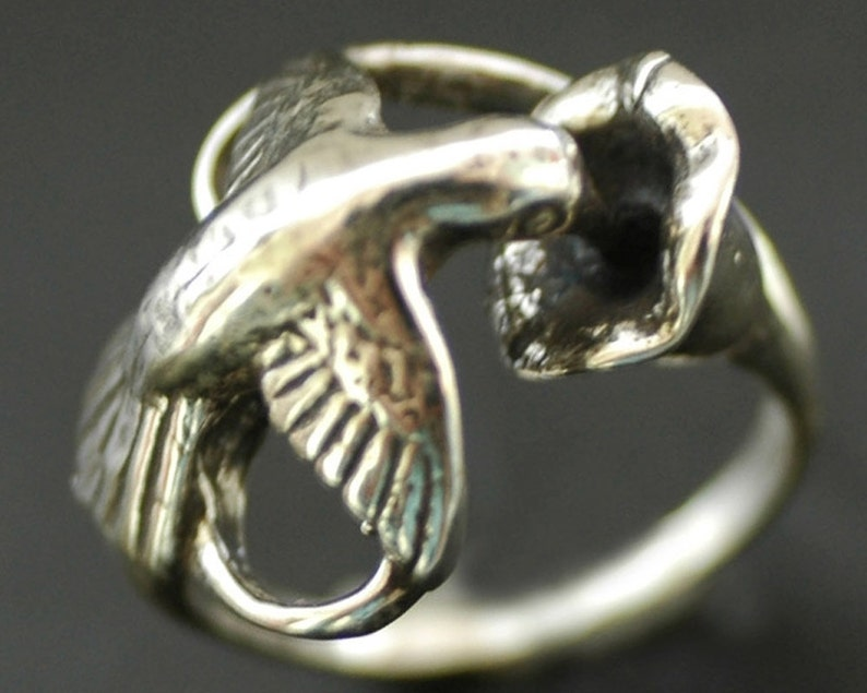 Humming Bird Nectar Flower Ring in Sterling Silver image 0