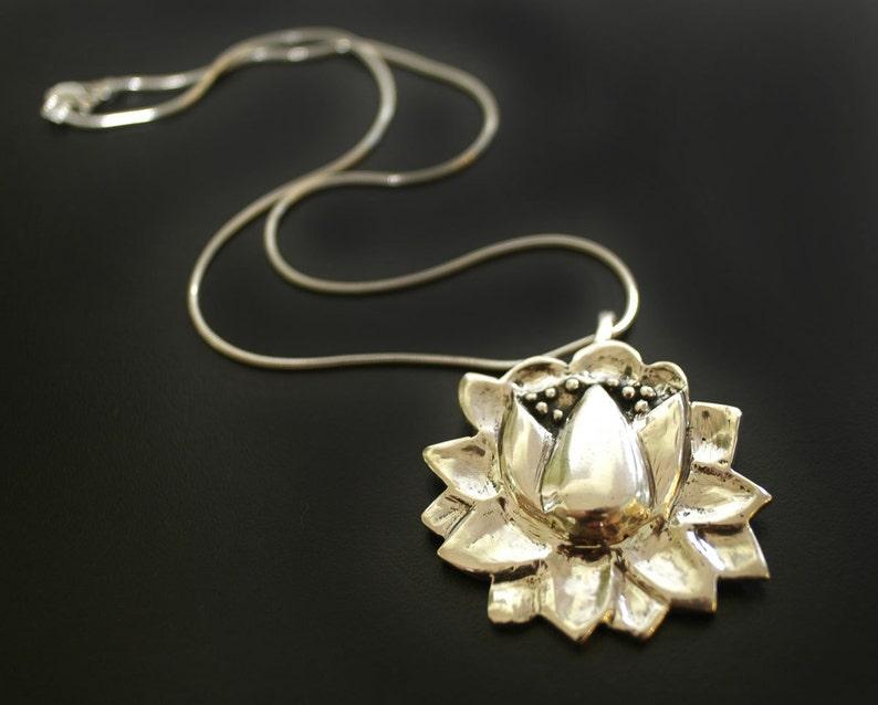 Large Lotus Pendant Necklace image 0