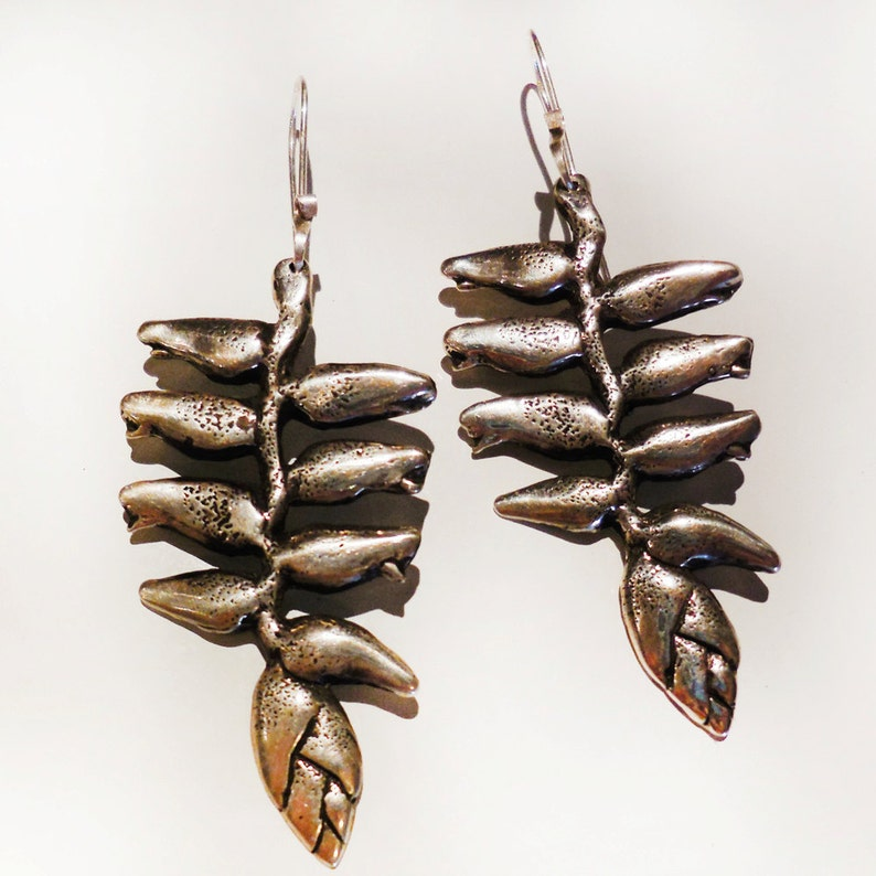 Heliconia Flower Sterling Silver Earrings image 0