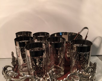 Vintage Kimiko Highball/Tumblers with Serving Tray, Ice Bucket and Tongs