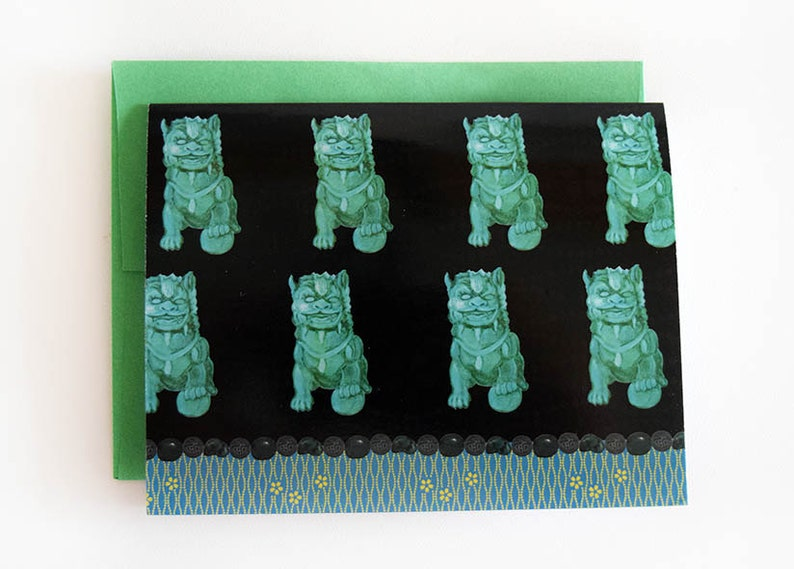 Foo Dog Note Cards  Chinoiserie Cards  Black & Turquoise image 0