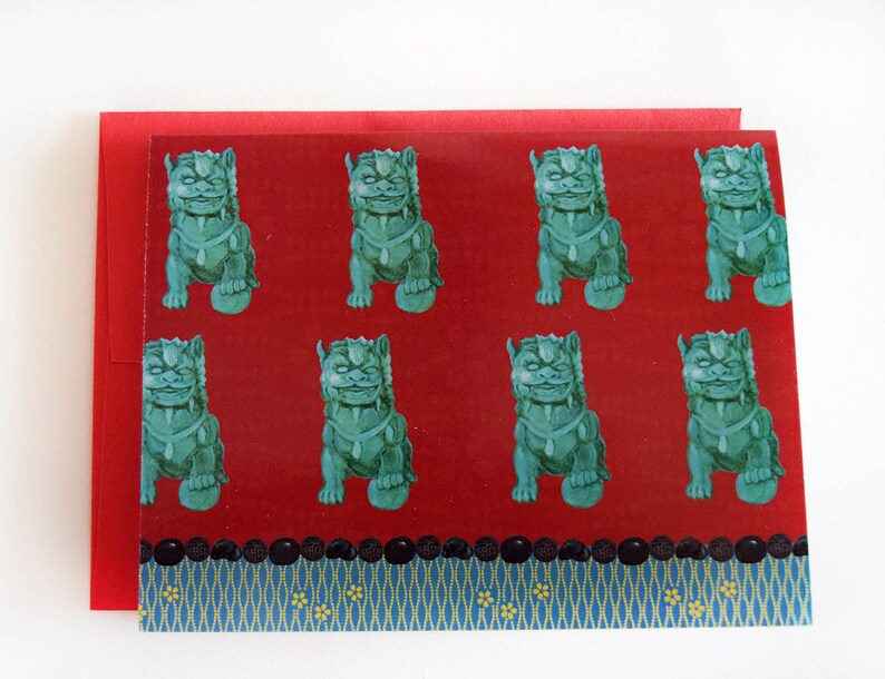 Foo Dog Note Cards  Chinoiserie Cards  Red & Turquoise image 0