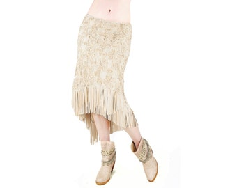 Cream Lace Boho Fringe Mid Length Skirt - Belly Dance, Boho Chic, Tango, Festival Clothing