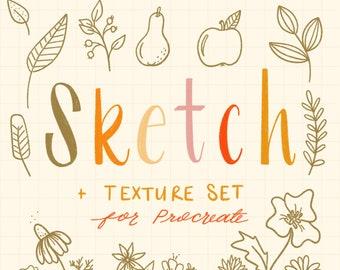 Sketch + Texture Procreate Brush Set
