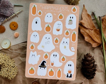 Happy Ghosts Sticker Sheet   Glossy Sticker Sheet