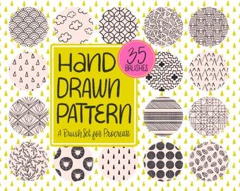 Hand Drawn Pattern Procreate Brush Set