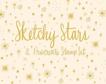 Sketchy Stars   A Hand Drawn Procreate Stamp Brush Set