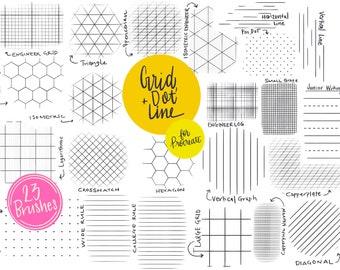 Grid, Dot & Line Procreate Brush Set