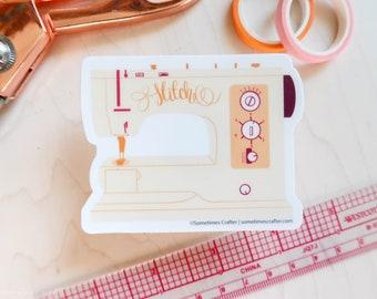 Vintage Sewing Machine Waterproof Vinyl Decal   Weatherproof Waterproof Sticker