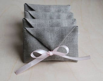 Set of 5-20 USB packaging natural linen pouches.Linen envelopes. Favor / gift / candy  bags. Wedding favors. Baby Shower. Gray linen.