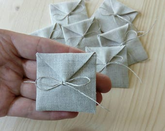 Linen packaging envelopes.Jewelry packaging. Favor/gift/candy bags.Wedding favors.The set of 10,20,30,40 bags. Size : 1.8 inch x 1.8 inch
