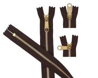 Color Black YKK #5 Everbright Golden Brass Long  Pull Separating Zipper Smooth /& Highly Polished High-End Zipper Auto-Lock