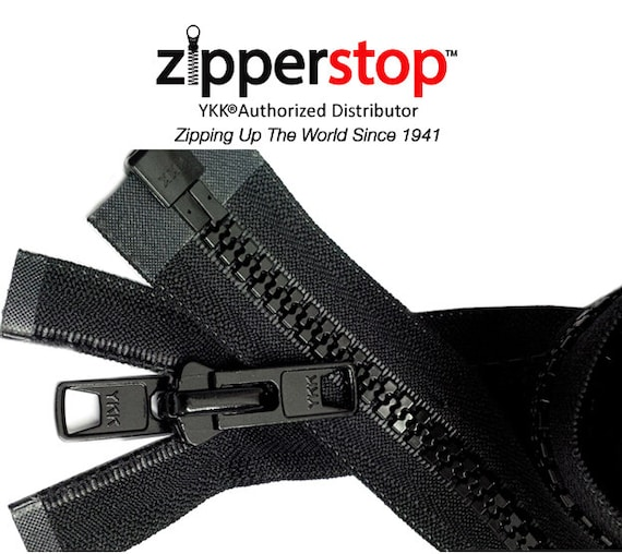 Zipperstop Wholesale YKK Bimini Top #10 Black Marine Double Pull Zipper 36 ~ YKK Zipper Reversible Molded with 2 Heads Separating