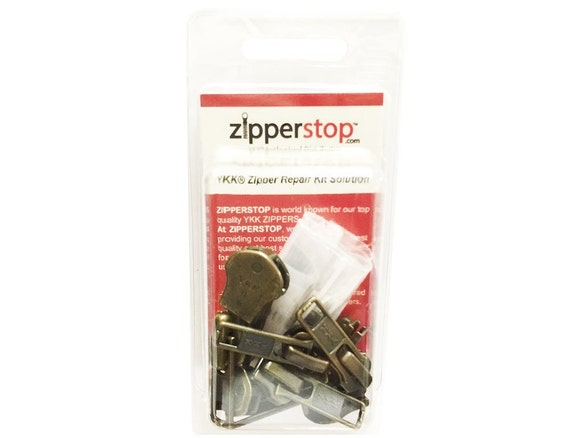 ZipperStop Wholesale 100 Pcs of Antique Metal Bottom Stoppers for Spiral Slider Bottom Rescue Repair Fit Antique Brass Zipper #3 and #4.5 by ZipperStop Wholesale Zipper Repair Kit Solution Zipper Repair Kit Solution