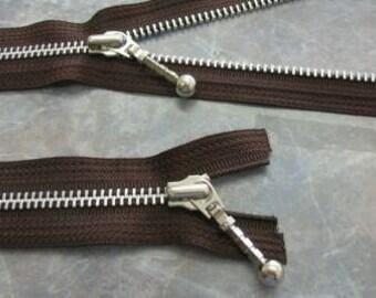18 inch  Number 5 Aluminum Zipper-Separating-Brown-Fancy Pull-Genuine YKK Zipper