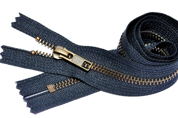 Special Custom Sale 10 Brass Finished YKK Zipper Number 5 with Donut Pull Slider Closed Bottom Color Black 1 Zipper//pack