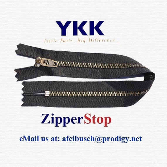 4 Zippers //Pack Sale 9\ Pants Zipper Antique Brass YKK #4.5 with Locking Slider Closed Bottom Color 2 Black and 2 Navy
