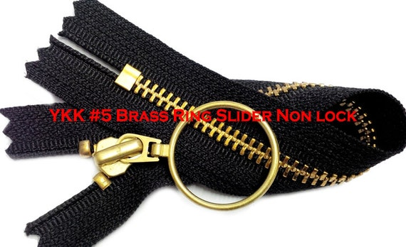 #5 Black /& Antique Brass Separating Zipper w// Fancy Pull Multiple Lengths