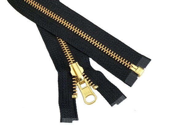 28 inch Black /& Brass Metal #5 YKK Zipper Separating New!