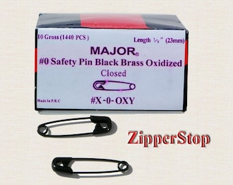 7/8 inch Number 0 Safety Pins , Black - 1 Box (1,440 Pins) /Hard-to-Find ,10 Gross - 1 Full box