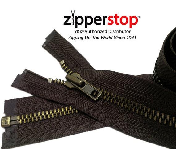 "30/"" or 36/"" #5 Antique Brass Separating Zipper YKK~ ZipperStop Off-White"
