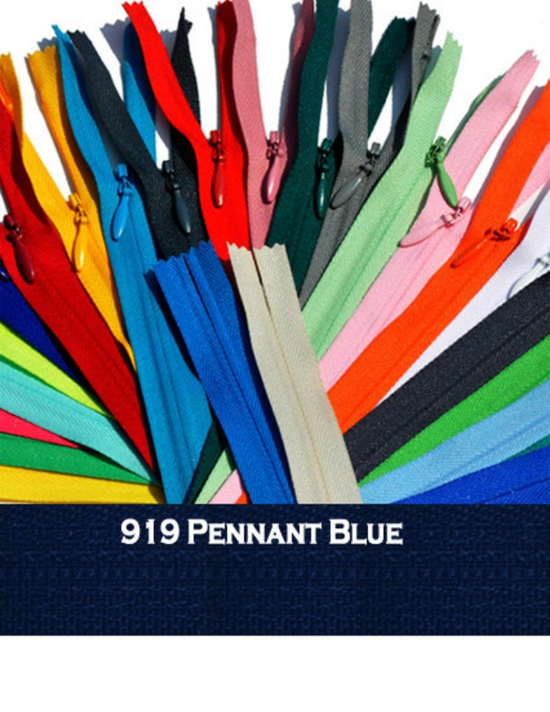 Closed Bottom Color 919 9 inch Invisible Zippers 12  Pennant Blue YKK Unique Invisible Zipper
