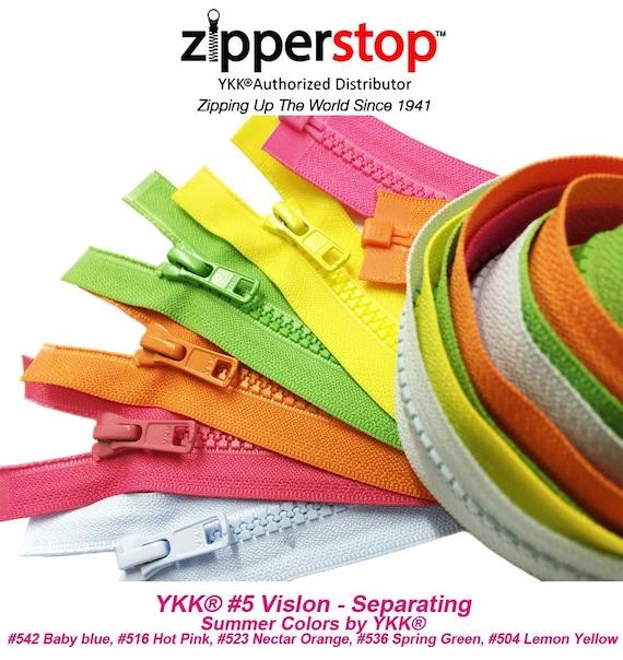 "14/"" to 36/"" #5 Brass Separating Jacket Zippers YKK ~ ZipperStop Light Grey 119"