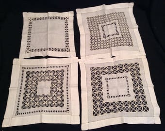 Cutters lot of 4 vintage luncheon napkins hand crafted, great for crafting, DIY projects, sewing or quilting   #176