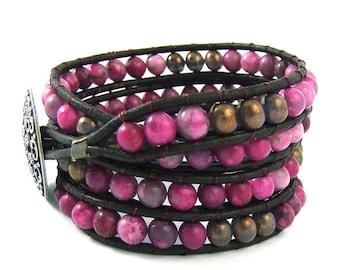 Fuchsia Pink Jasper Gemstone Bead Leather Wrap Bracelet Handmade 4 Wraps Brown Leather Cord Ladder Bracelet Pewter button beaded wrap