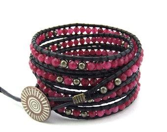 Beaded Wrap Bracelet Raspberry Jade Black Leather Cord, Handmade, 5x wraps