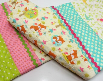 baby quilt with little foxes, trees, birds and butterflies and birds woodland animal, forest Ready to ship