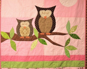 """Owl baby quilt- baby girl, """"How Big is the Sky"""" mother and baby owls, full moon, leafy branch wall hanging, Ready to Ship"""