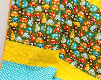 """Baby quilt, baby boy quilt, baby girl quilt, cars, """"Vroom"""" crib quilt, baby blanket, toddler quilt, Ready to ship"""