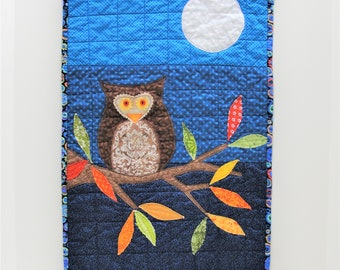 """Autumn owl quilt- appliqued wall quilt with night sky, owl, autumn leaves, fall, full moon,  """"Midnight Watch"""" Ready to ship"""