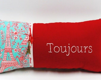 pillow, hand-embroidered, love, toujours, always, Eiffel Tower, amour twill tape, brass charm, red, blue, valentine's day, anniversary