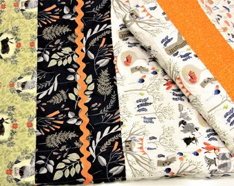 """baby quilt with woodland animals- raccoons, bears, owls, foxes, rabbits, party """"Woodland Celebration"""" Ready to ship"""