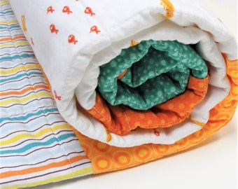 baby quilt with fish , baby boy quilt, baby girl quilt, orange fish, ocean, stripes, polka dots, Ready to ship