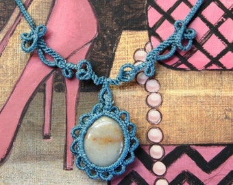 Blue Macrame Necklace ~ Natural Stone Wrapped Cabochon Flower Design ~ Unique and Delightful Gifts for Her ~ Macrame Jewelry
